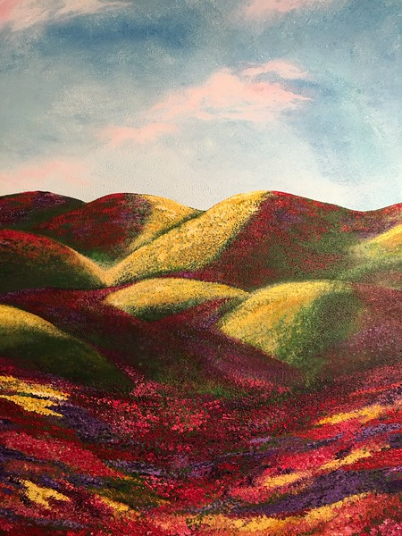 """Summer Bloom"" (acrylic - molding paste) by Catherine Sexton"