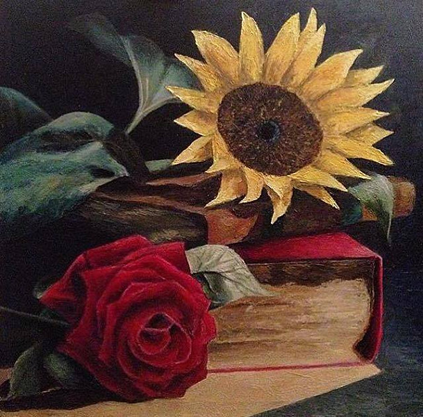 """Flowers and Books"" (oil) by Conor White"