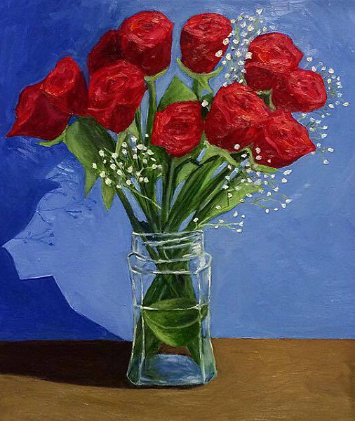 """""""Roses in a Jar"""" (oil) by Conor White"""