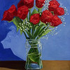 """Roses in a Jar"" (oil) by Conor White"