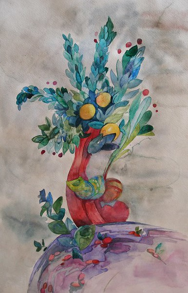 """Orange tree"" (watercolor and watercolor pencils) by Politova Yulia"