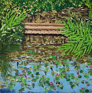 """LOTUS LAKE"" (fabric collage on canvas) by Nilima Bhosekar"