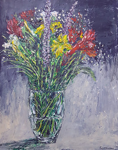 """Flowers in Vase"" (acrylic on illustration board) by Eugene Kuperman"