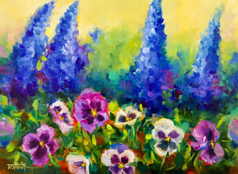 """""""Wind Swept Delphiniums and Spring Pansy Garden"""" (oil on cradled panel) by Rohini Mathur"""