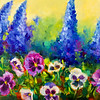 """Wind Swept Delphiniums and Spring Pansy Garden"" (oil on cradled panel) by Rohini Mathur"