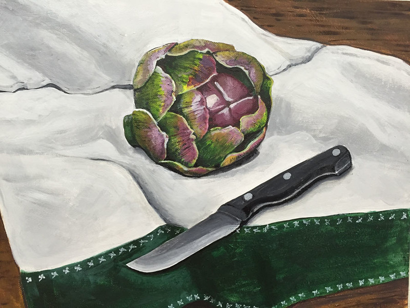 """Artichoke"" (acrylic on canvas) by Crista Bromley"