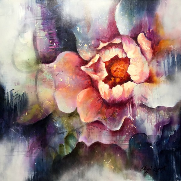 """""""Inner Bloom"""" (mixed media-acrylic, ink, spray paint and oil) by Angel Elquest"""