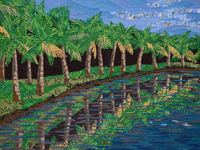 """TROPICAL PARADISE"" (fabric collage on canvas) by Nilima Bhosekar"
