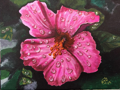 """Pink Hibuscus"" (acrylic on canvas) by Crista Bromley"