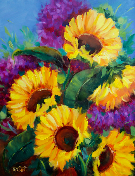 """""""Sunkissed Sunflowers With Pretty Purple Hydrangeas"""" (oil on cradled panel) by Rohini Mathur"""
