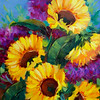 """Sunkissed Sunflowers With Pretty Purple Hydrangeas"" (oil on cradled panel) by Rohini Mathur"