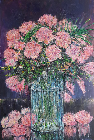 """Rose Vase"" (oil on canvas) by Eugene Kuperman"