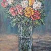 """Impressionistic Rose Vase"" (acrylic on canvas board) by Eugene Kuperman"