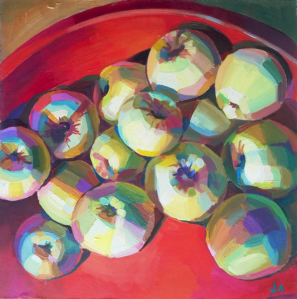 """Apples"" (acrylic on board) by Marina Alaeva"