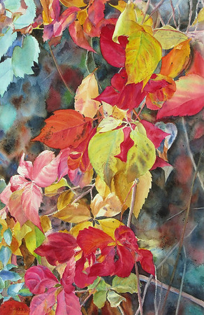 """Fall Cascade II"" (watercolor) by Elizabeth Burin"
