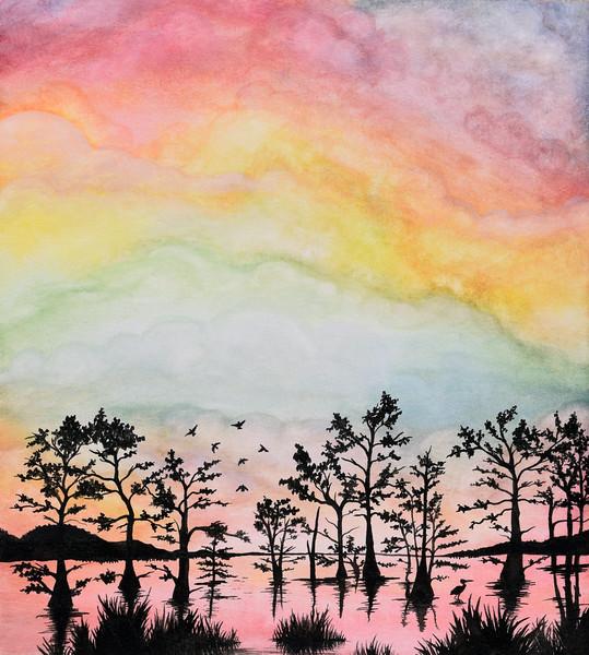 """Atchafalaya Rainbow"" (watercolor) by Bronte Duvic"