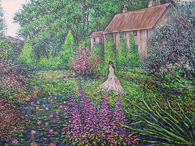 """A Walk through the Garden"" (acrylic on canvas) by Eugene Kuperman"