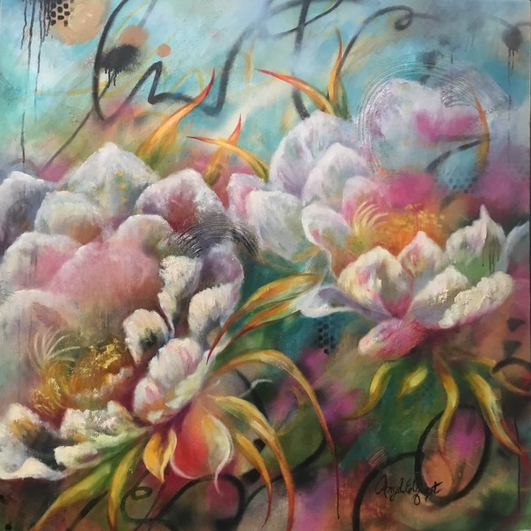 """Glorious Garden"" (mixed media-acrylic, ink, spray paint and oil) by Angel Elquest"