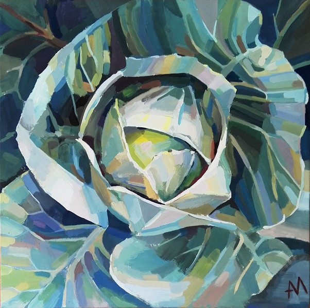 """Cabbage"" (gouache on paper) by Marina Alaeva"