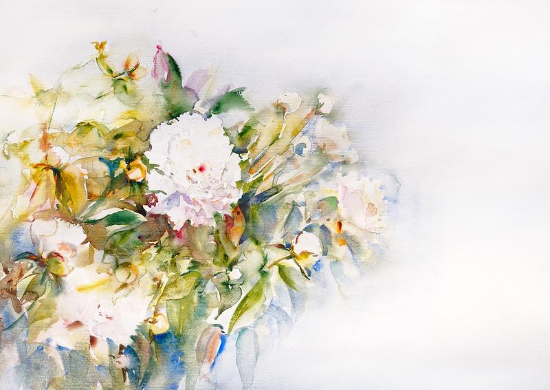 """""""Grandma's peonies"""" (watercolor) by Maksim Demchuk"""