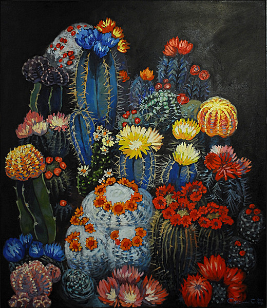 """Cactuses in bloom"" (oil on canvas) by Sergey Syksin"