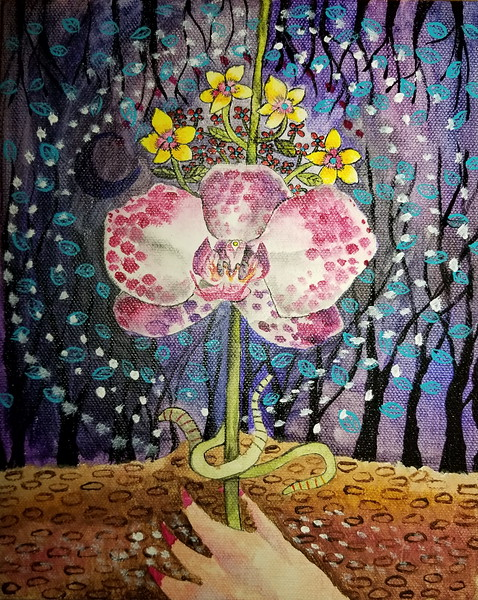 """Flower Wand"" (acrylic) by Jennifer Carberry-landis"