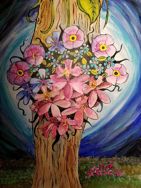 """Flower Tree"" (acrylic) by Jennifer Carberry-landis"