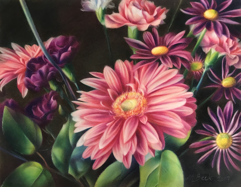 """Pink and Purple Encouragement"" (colored pencil) by Nathalie Beck"