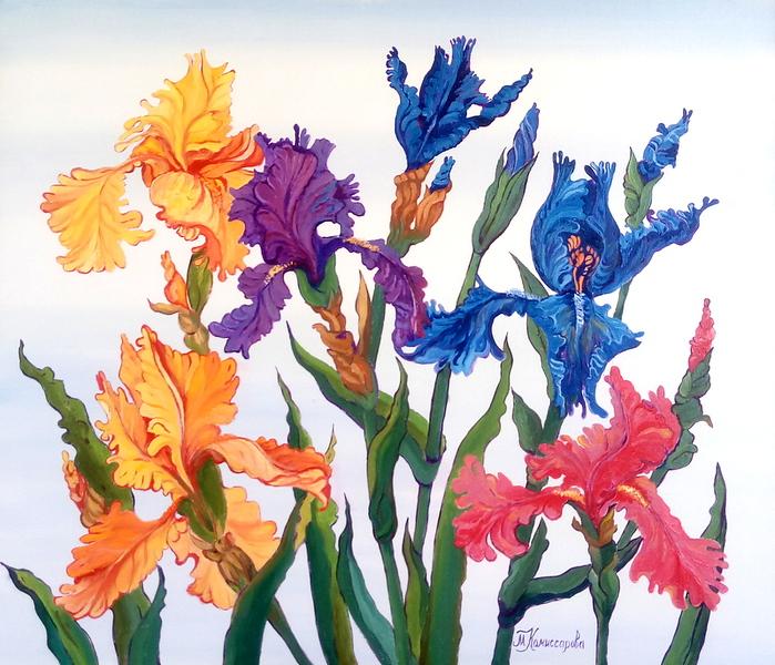 """""""Irises rainbow flowers"""" (oil on canvas) by Marina Komissarova"""