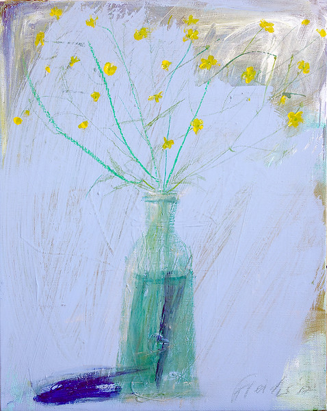 """Buttercups in a vase"" (acrylic on canvas) by Elena Freidis"