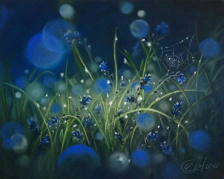"""Magical meadow"" (pastel on paper) by Elena Gorbacheva"