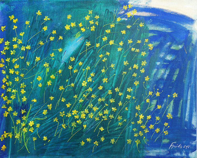 """""""Buttercups in the grass with a pond and a fish"""" (acrylic on canvas) by Elena Freidis"""