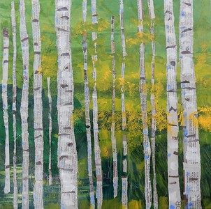 """Aspens Collage"" (mixed media) by Joy Parks Coats"