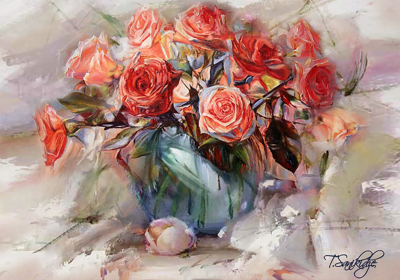 """Red Roses"" (oil on canvas) by Tinatin Sanikidze"