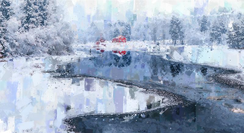 """Winter in my Village"" (acrylic) by Tinatin Sanikidze"