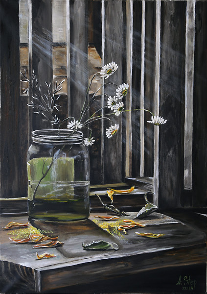 """Still life with daisies"" (oil) by Aleksandra Step"