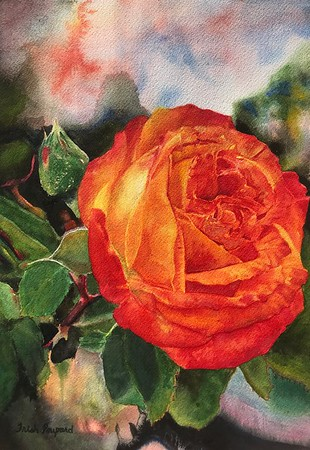 """First Bloom"" (watercolor) by Trish Poupard"