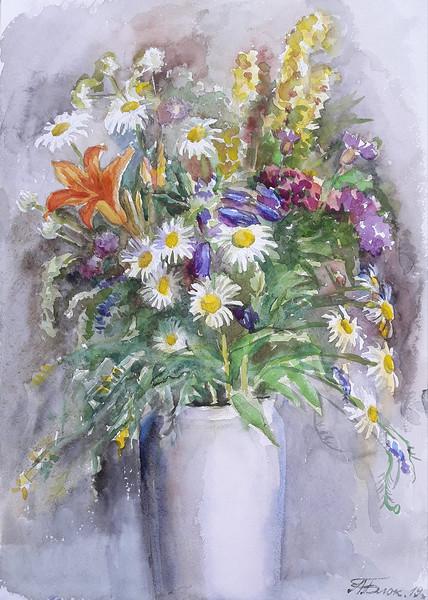 """""""Summer flowers 1"""" (watercolor) by Anastsiya Block"""