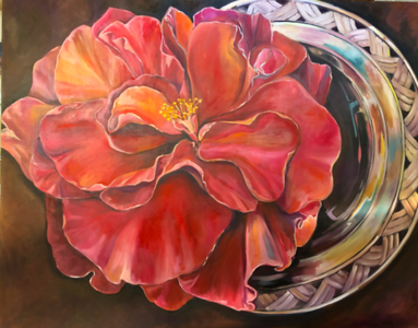 """""""'The Last Bloom of Winter"""" (oil on canvas) by Rebecca Madura"""