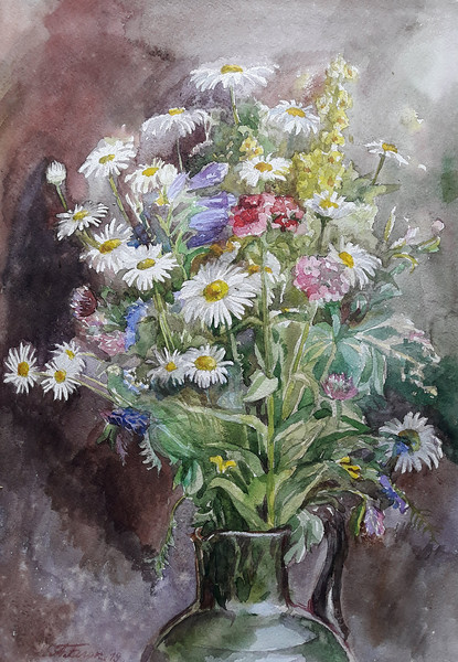 """Summer flowers 2"" (watercolor) by Anastsiya Block"