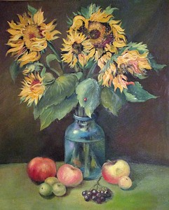 """Sunflowers"" (oil on cardboard) by Anna Mulyzeva"