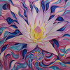 """Symbolic Awareness of the Divine Waterlily"" (acrylic on canvas) by Kong Ho"