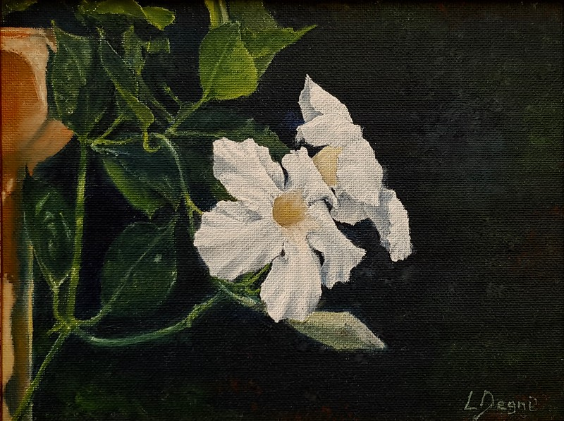 """The White Flowers"" (oil on canvas board) by Louis Degni"