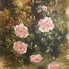 """Rosa Queen Elizabeth with Honeysuckle"" (oil) by Susan Waters"