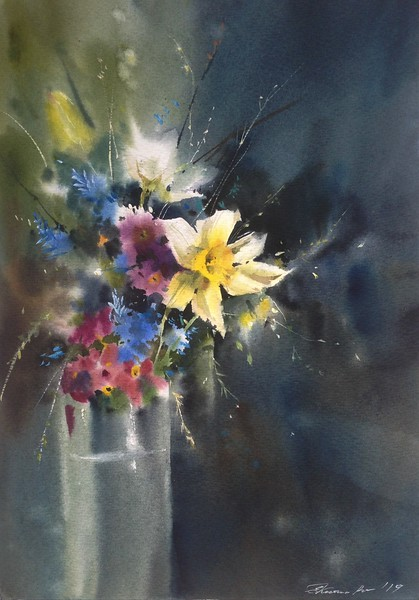 """Spring in my soul"" (watercolor) by Evgeniya Kostikova"