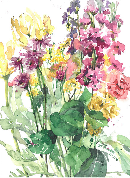 """""""Mother's Day Flowers III"""" (watercolor) by Gloria Tseng Fischer"""