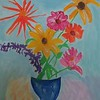 """""""Cut Flowers In A Blue Vase"""" (acrylic) by Pam Malone"""