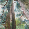 """Tall Trees"" (fluid acrylic and watercolor on paper) by Elizabeth Burin"