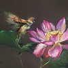 """Playing with lotus"" (soft pastel on paper) by Ping Chen"