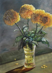 """Yellow Chrysanthemums"" (oil) by Elena Fleming"
